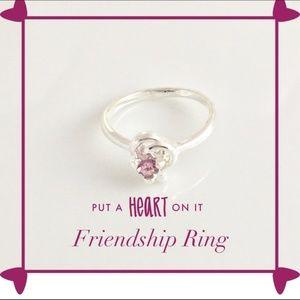Purple Double Heart CZ Rhinestones Ring